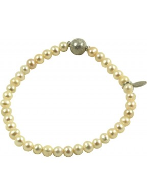 Basic bracelet white pearls with silver ball