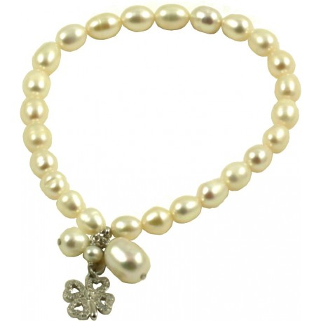 Basic bracelet white pearls with silver four leaf clover pendant mozeypictures Image collections