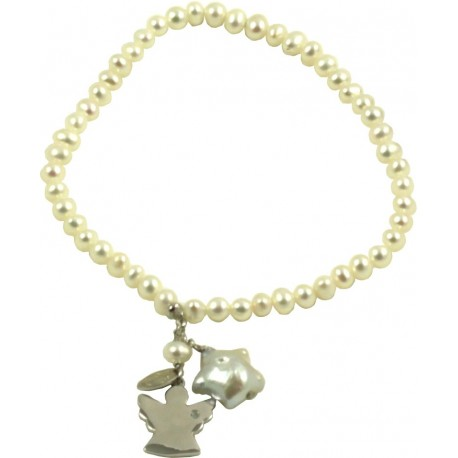 Basic bracelet white pearls with silver angel pendant