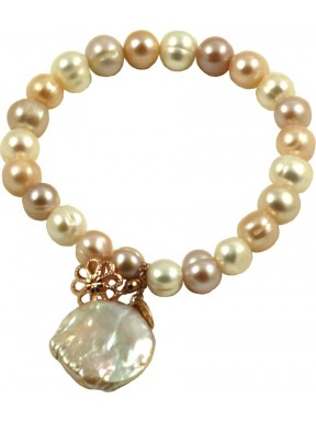 Basic bracelet multicolored pink pearls and flat pearl pendant