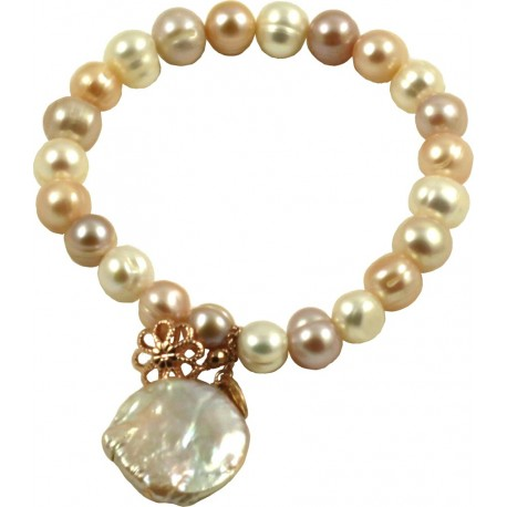 Basic bracelet multicolored pink pearls and flat pearl pendant aloadofball