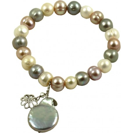 Basic bracelet multicolored pink and grey pearls and flat pearl pendant