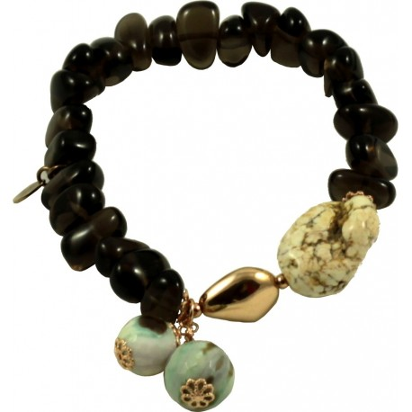 Bracelet with smoky quartz, green agate, aulite and silver nugget