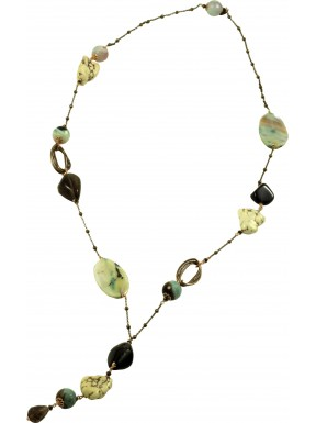 Necklace with smoky quartz, green agate and aulite
