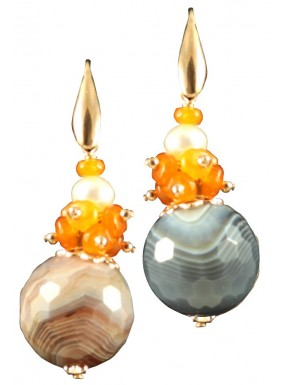 Earrings with botswana agate and carnelian