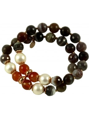 2 strand bracelet with botswana agate, carnelian and pearl