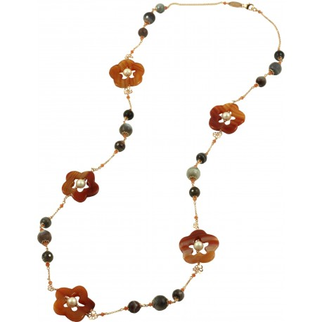 Necklace with botswana agate, carnelian flowers and pearls