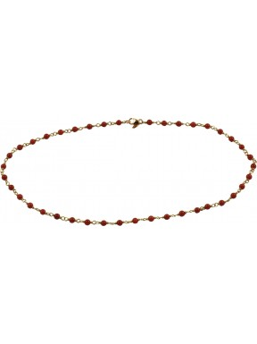 Minimal choker with red coral and 925 pink golden plated silver chain