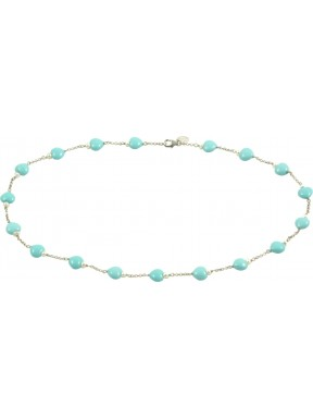 Minimal choker with turquoise paste hearts and 925 rhodiated silver chain