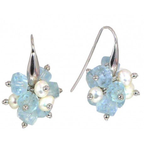 Earrings aquamarine and fresh water pearls