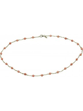 Minimal choker with rodonite and 925 rhodiated silver chain