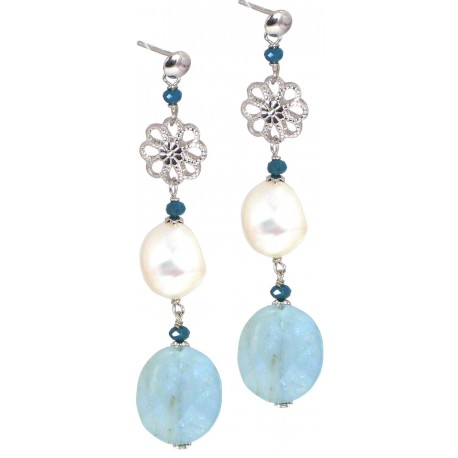 Earrings aquamarine, fresh water pearls and quartz