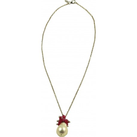 Basic choker rhodiated silver chain with baroque pearl and red quartz