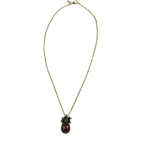 Basic choker rhodiated silver chain with grey pearl and green hydrothermal quartz