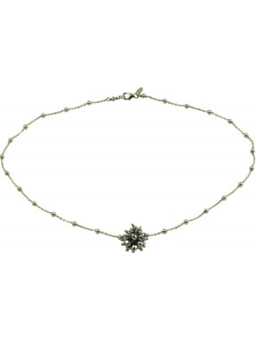 Minimal choker in rhodiated 925 silver chain with a rhodiated agate pompon