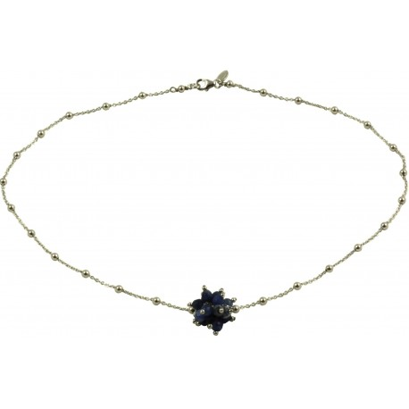 Minimal choker in rhodiated 925 silver chain with a sodalite pompon