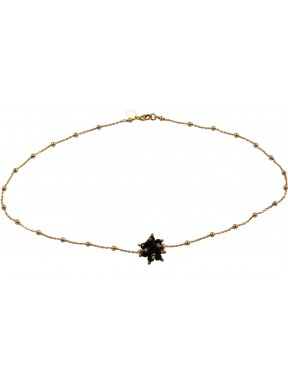 Minimal choker in pink gold plated 925 silver chain with a black agate pompon