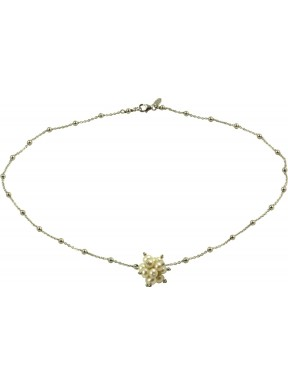 Basic minimal choker in rhodiated 925 silver chain with a white pearls pompon