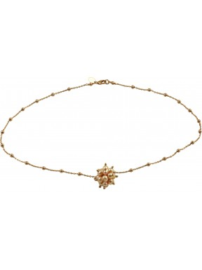 Basic minimal choker in pink gold plated 925 silver chain with a pink pearls pompon