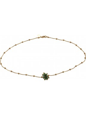 Minimal choker in pink gold plated 925 silver chain with a green hydrothermal quartz pompon