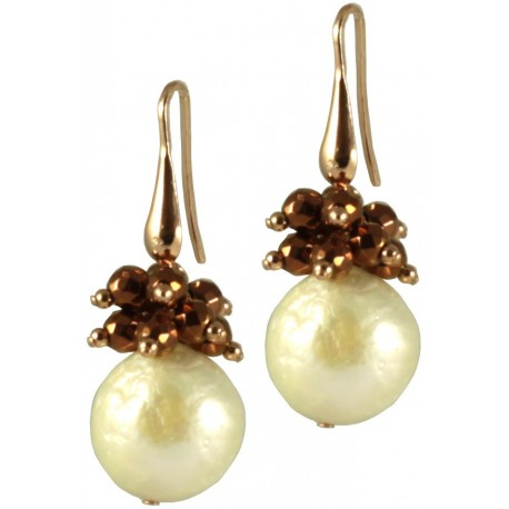 Basic earrings with white baroque pearls and pink gold plated hematite