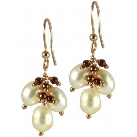 Basic earrings with 3 white pearls and pink gold plated hematite