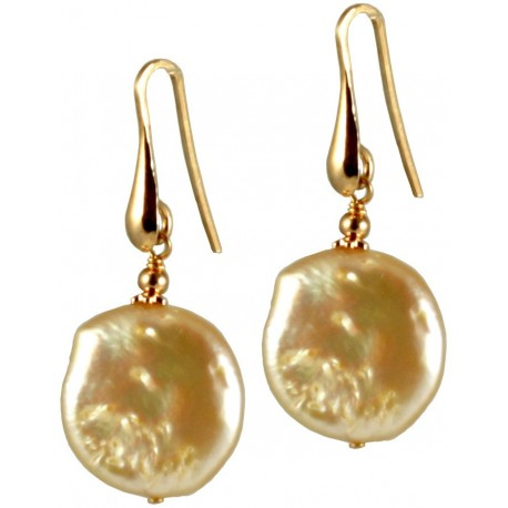 Basic earrings with flat pink pearls