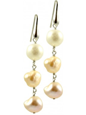 Basic earrings with 3 irregular white and pink pearls