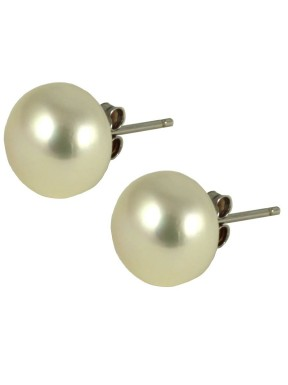 Lobe basic earrings with 10mm white pearls