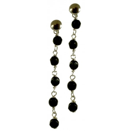 Minimal earrings with chained black agate
