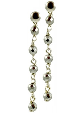 Minimal earrings with chained rhodiated agate