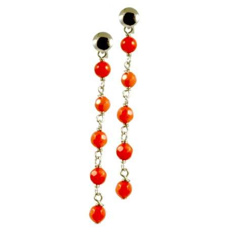 Minimal earrings with chained bamboo coral