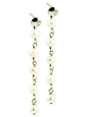 Minimal basic earrings with chained white pearls