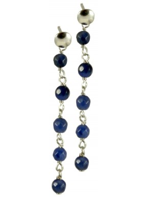 Minimal earrings with chained sodalite