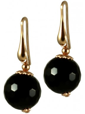 Minimal earrings with black agate round beads