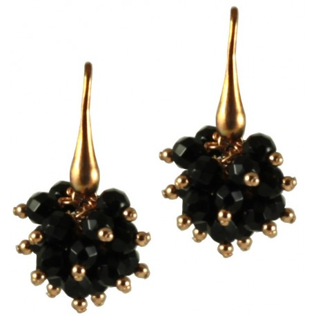 Minimal earrings with black agate ponpom