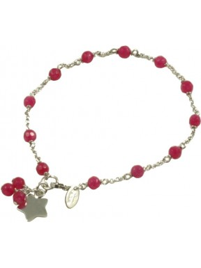 Minimal bracelet with red quartz and 925 rhodiated silver chain with a star shaped pendant