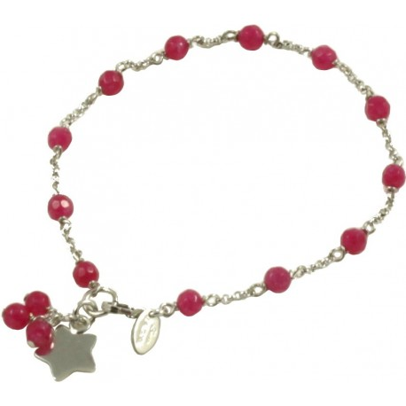 Minimal bracelet with red quartz and 925 rhodiated silver chain wit minimal bracelet with red quartz and 925 rhodiated silver chain with a star shaped pendant mozeypictures Choice Image