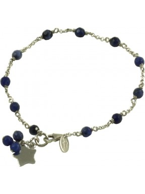 Minimal bracelet with sodalite and 925 rhodiated silver chain with a star shaped pendant