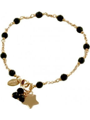 Minimal bracelet with black agate and 925 pink golden plated silver chain with a star shaped pendant