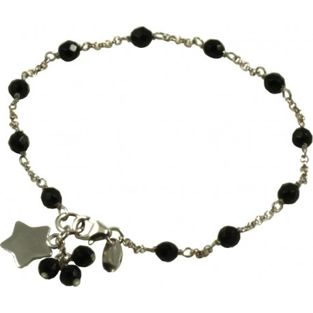 Minimal bracelet with black agate and 925 rhodiated silver chain with a star shaped pendant