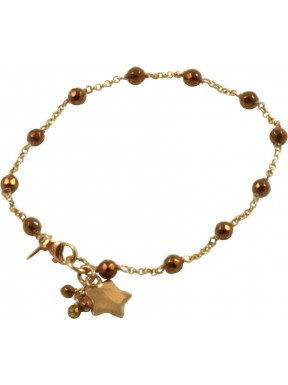 Minimal bracelet with golden hematite and 925 pink golden plated silver chain with a star shaped pendant