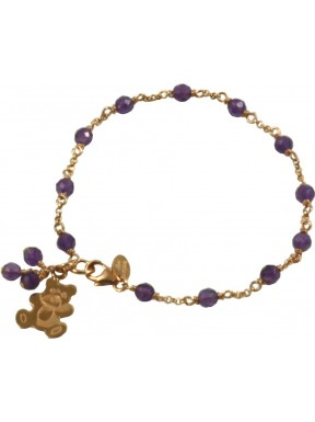 Minimal bracelet with amethyst and 925 pink golden plated silver chain with a bear shaped pendant