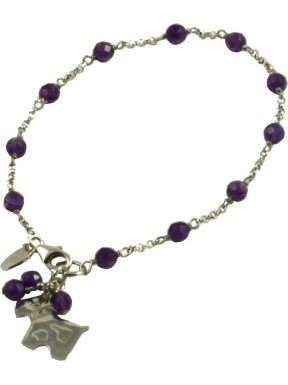 Minimal bracelet with amethyst and 925 rhodiated silver chain with a dog shaped pendant