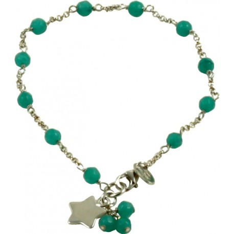 Minimal bracelet with green quartz and 925 rhodiated silver chain with a star shaped pendant