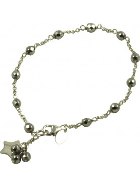 Minimal bracelet with rhodiated agate and 925 rhodiated silver chain with a star shaped pendant