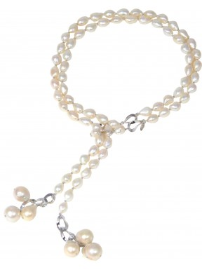 Necklace scarf white fresh water pearls