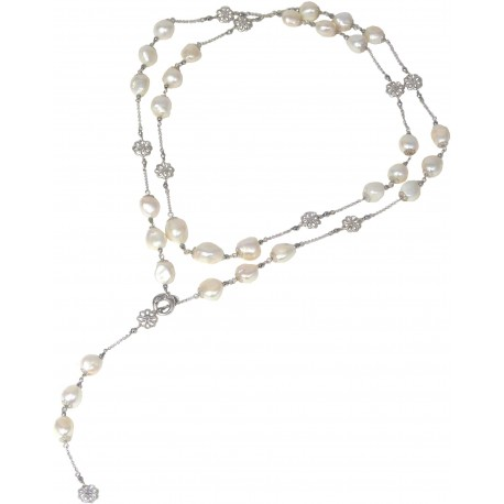 Necklace white fresh water pearls and rhodiated agate