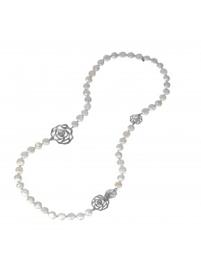 Necklace white fresh water pearls and silver flowers