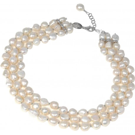 Choker 3 strings white fresh water pearls